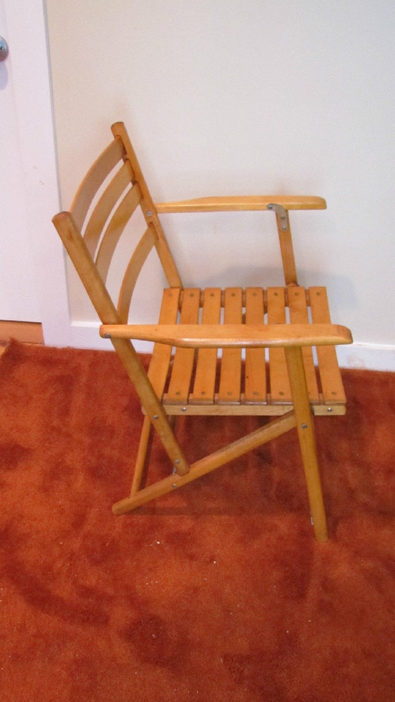Vintage Telescope Folding Furniture Co Folding Maple Chair