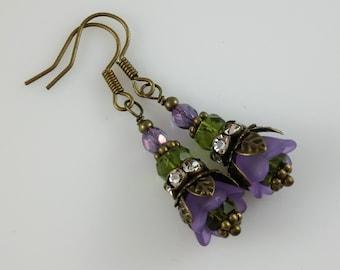 Vintage Style Bronze Purple Lucite Flower and Rhinestone Earrings