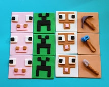minecraft cupcake topper, 12 minecraft inspired, edible cupcake toppers, fondant cupcake toppers, fondant favors birthday theme party favor
