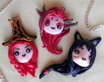 League of Legends Miss Fortune Zyra Ahri ALL CHARACTERS Necklace or Keychain chibi