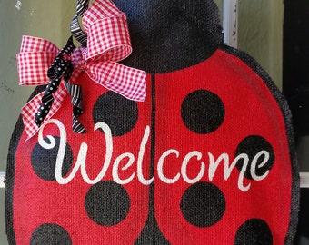 Ladybug burlap door hanger, welcome door sign, wreath, Spring, summer door decoration