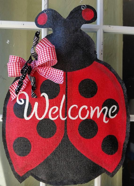 Ladybug Burlap Door Hanger Welcome Door Sign By