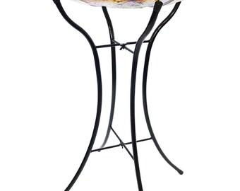 """18"""" Diameter Hand Painted Glass bowl + 25"""" Tall Bird Bath Stand"""