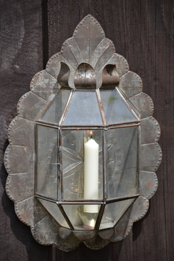 Candle Sconce Vintage Mexican Tin Glass Candle Wall Decor