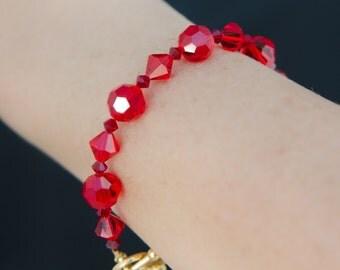 Red Crystal Bracelet with Swarovski® Crystal, Bracelet with Gold Toggle, Holiday Jewelry Bracelet, Easy to Put On Swarovski Jewelry