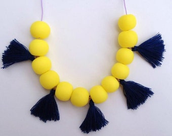 Polymer clay tassel necklace - Tassel necklace - Bright yellow polymer clay beaded necklace - Bohemian beaded necklace