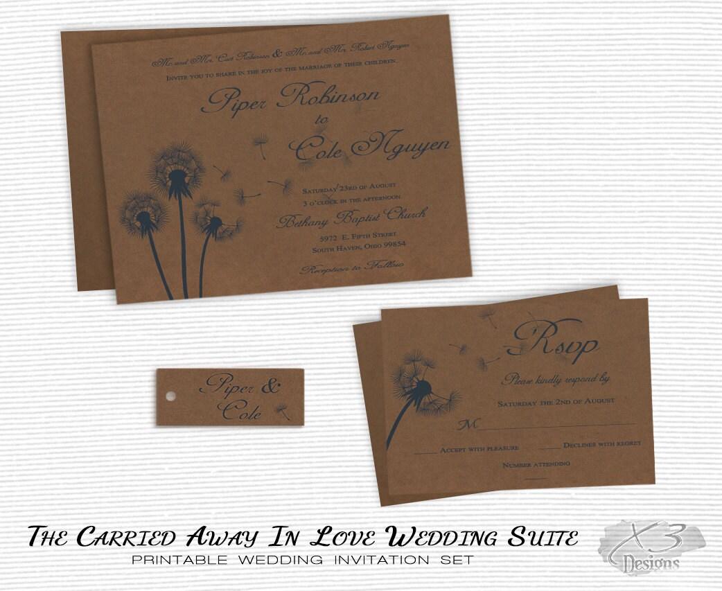Diy Autumn Wedding Invitations: Printable Fall Wedding Invitations DIY Country Wedding