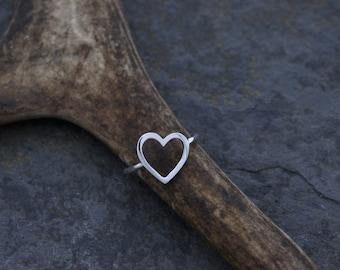 Silver sterling heart shape ring