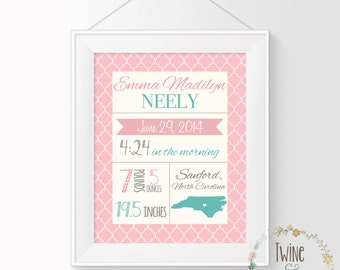 Birth Stats Wall Art, Printable Baby Stats, Birth Stats Print, Baby Girl Nursery, Pink Nursery Decor, Personalized Nursery Art