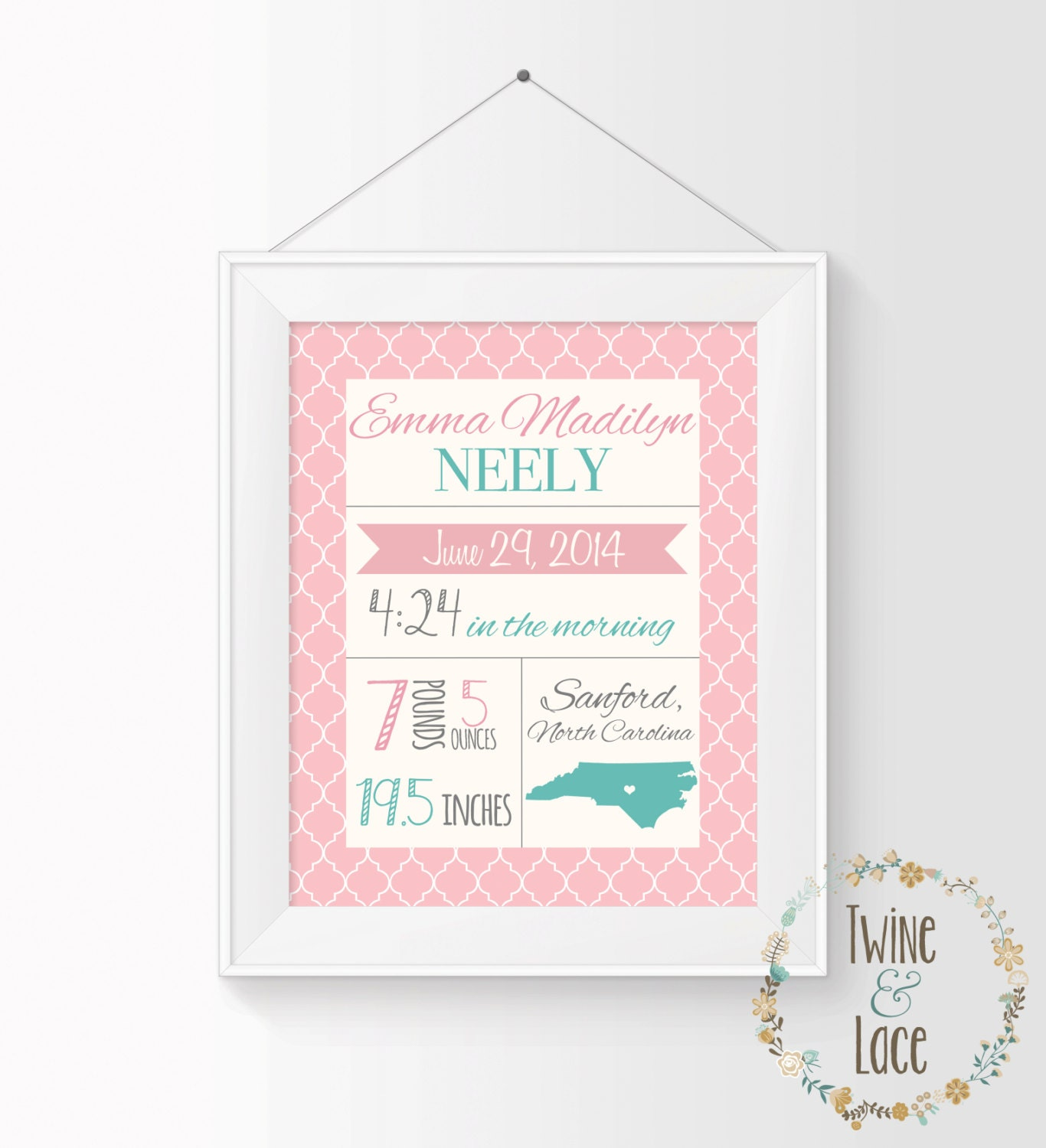 Birth Stats Wall Art Printable Baby Stats Birth Stats Print