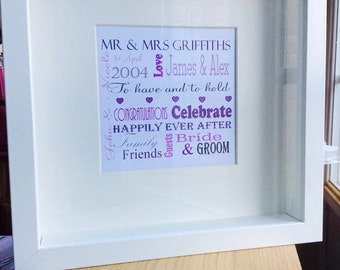 A personalised word art framed picture for weddings, births, birthdays, anniversaries or any special occasion