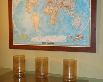 Classic World Push Pin Map 24x36 Shown On A Rustic Walnut Frame