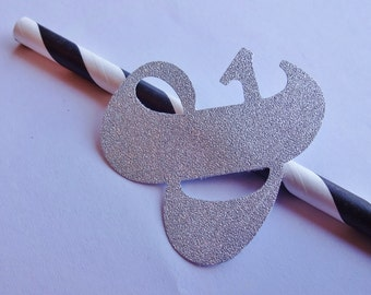 Black & White Striped Straw with Silver Glitter Ampersand
