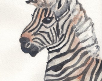 Nursery wall art. Zebra art. Animal nursery art. Handmade nursery art. Zebra print. Baby zebra. Watercolor print. 8 x 10