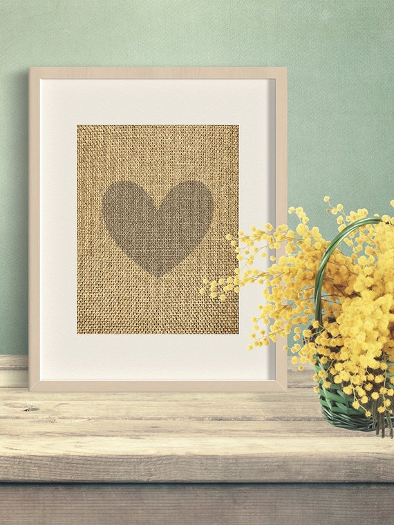 Rustic Burlap Wall Decor : Heart burlap print printable wall art rustic