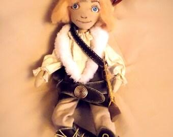 Aaron the little hunter, art doll,fabric doll, rag doll,textile doll hunter