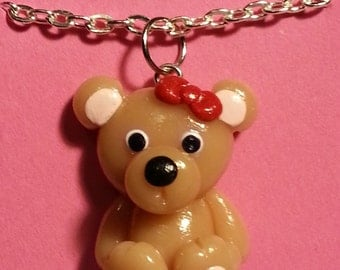Cute Little Teddy Bear Polymer Clay Pendant Charm