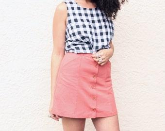 High Waisted Mini Skirt. Terracotta, Button Front Skater Skirt. A-line Skirt with Pockets.