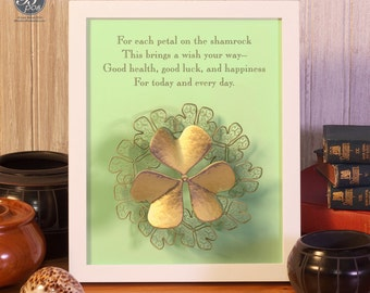 Irish Blessing, Wall Art Printable, For each petal on the shamrock, INSTANT DOWNLOAD, St. Patrick's Day, 3D Metallic Gold, Green, Home Decor