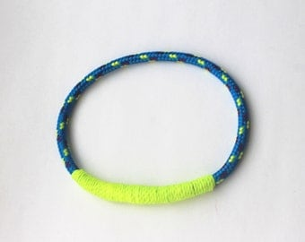 Nautical Rope Bracelet in Bright Blue with Neon Yellow. Handmade in the U.K