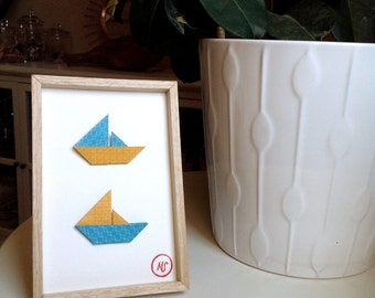 Framework origami boats blue/yellow-Decoration child-one paper bird wall-room...