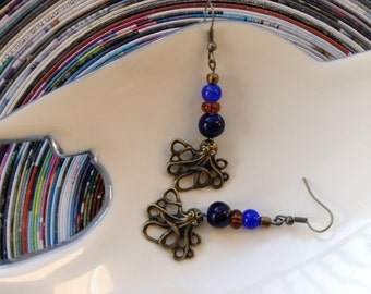 Beyond the Sea Octopus dangle earrings