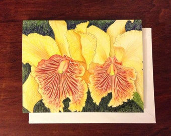 Yellow Orchids in Colored Pencil