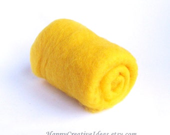 Yellow carded wool roving for felting spinning stuffing crafts DIY, natural sheep wool, soft and easy to use