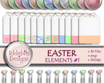 """Easter Digital Elements and Embellishments Pack, """"EASTER"""" For Scrapbooking, brads, digital tags, paperclips,easter bunny, easter chicks, #36"""