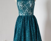 2015 Scoop Dark Teal Lace Champagne Lining Short Bridesmaid Dress with Back Buttons