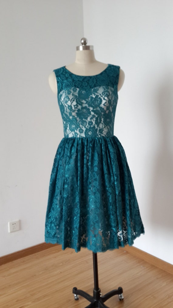 2015 Scoop Dark Teal Lace Champagne Lining Short Bridesmaid