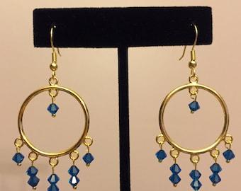 Capri Blue Swarovski Gold Hoop Earrings