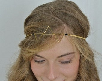 Headband hair, minimalist style jewel / ethnic.  Golden triangles