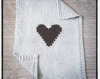 Organic Cotton Grey Heart Baby Blanket for Car Seat, Bassinet or Stroller