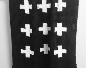 Knit Swiss Cross Baby Blanket Black with Cream Cross for Bassinet or Crib