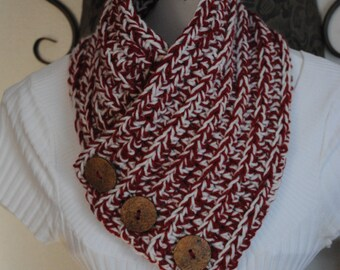 Crochet Cranberry & Soft White Neck Cowl With Buttons, Neck Warmer With Buttons, Scarf With Buttons