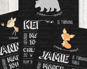 Custom Owl Birthday Invitation, baby shower, blackboard, bear chalkboard, children, kids, woodland friend, jungle animal [Digital Download]