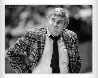Bob Knight 1985   Black & white photographic print - 5x7 - of Indiana University basketball coach Also available in 8x10, 11x14, and 16x20