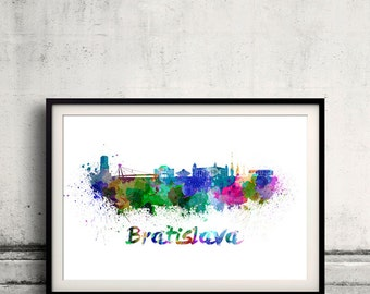 Bratislava skyline in watercolor over white background with name of city 8x10 in. to 12x16 in. Poster art Illustration Print  - SKU 0287