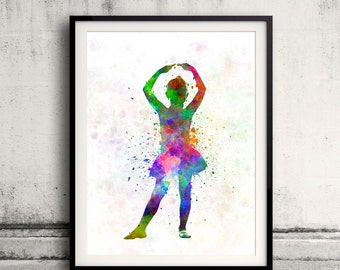 Little girl ballerina ballet dancer dancing 8x10 in. to 12x16 in. Poster Digital Wall art Illustration Print Art Decorative  - SKU 0492