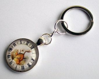 Alice in Wonderland Keychain ~ The White Rabbit Keyring ~ Fantasy Keyring ~ Alice Jewelry