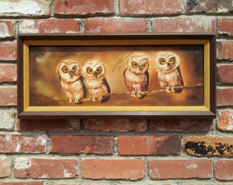Vintage Original Oil Painting On Canvas Signed McCarty Owls