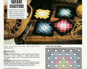 Granny Squares Coasters in Plastic Canvas
