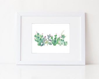 Watercolor Cacti and Succulents - Watercolor Modern Natural Art Print - Zen Art - Green Decor