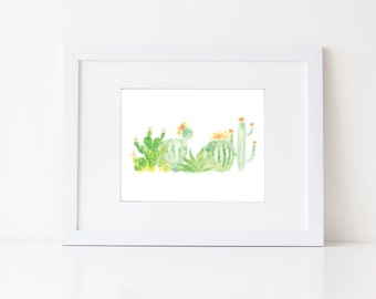 Watercolor Cacti and Succulents - Watercolor Modern Natural Art Print - Zen Green Art