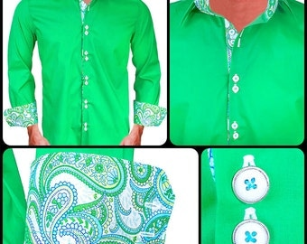 Bright Green with White & Blue Paisley Men's Designer Dress Shirt - Made To Order in USA