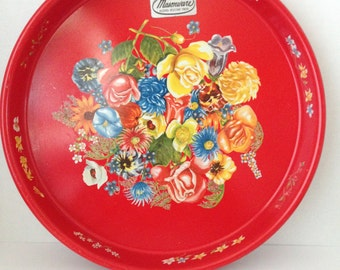 Vintage Masonware serving tray red with floral design