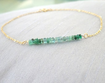 Emerald bracelet, birthstone bracelet, may birthday, Emerald jewelry, dainy bracelet in gold fill, sterling silver, rose gold