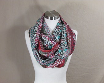 Infinity Scarf in Multipatterned Print Handmade Lightweight Scarf Spring Scarf Summer Scarves