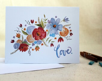Love Floral Watercolor Card